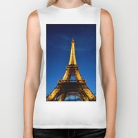 eiffel Biker Tanks featuring Eiffel by Heather Hartley