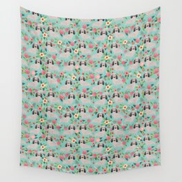 Dachshund florals - shaded cream doxie design cute floral dogs dachshunds cute dog best doxies Wall Tapestry
