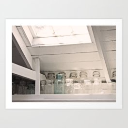 Vintage Jars in a White Kitchen Art Print