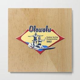 Tandem Surfing Hawaiian Surfboard and Pareau Designs Metal Print