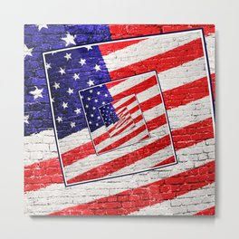 Patriotic American Flag Abstract Metal Print