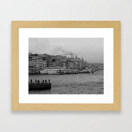 fishing on the Galata Bridge Framed Art Print