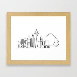 Seattle skyline in one stroke Framed Art Print