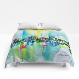 Abstract View of Downtown Long Beach Coastline Comforters