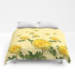 RAINING YELLOW ROSES COLLAGE ART Comforters