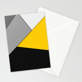 Simple Modern Gray Yellow and Black Geometric Stationery Cards