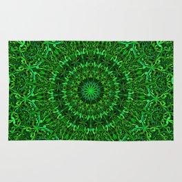 Green Spiritual Mandala Garden Rug