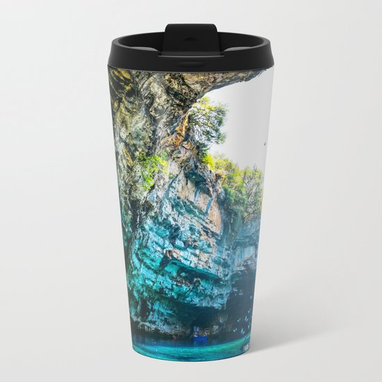 Sea Cave in Greece Metal Travel Mug