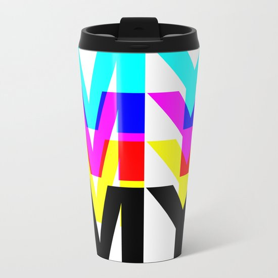 CMYK ON WH Metal Travel Mug