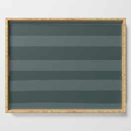 Juniper Berry Green PPG1145-6 Bold Hand Drawn Horizontal Stripes on Night Watch PPG1145-7 Serving Tray