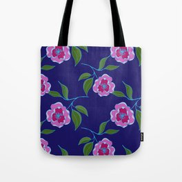 Peony Floral Floating Pattern Tote Bag