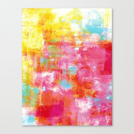 OFF THE GRID 2 Colorful Pink Pastel Neon Abstract Watercolor Acrylic Textural Art Painting Rainbow Canvas Print