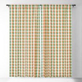 Small Orange White and Green Irish Gingham Check Plaid Blackout Curtain