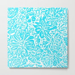 Marigold Lino Cut, Turquoise Metal Print