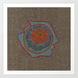 Growing - Thuja - embroidery based on plant cell under the microscope Art Print