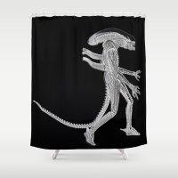 alien Shower Curtains featuring Alien by Beastie Toyz