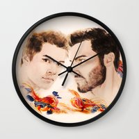 lacrosse Wall Clocks featuring Orange and Blue by Sterekism