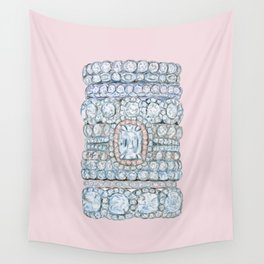 Diemond Rings on Light Pink Wall Tapestry