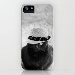 Cat with hat iPhone Case