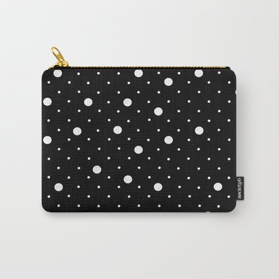Pin Point Polka Dots White on Black Carry-All Pouch