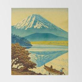 Japanese Woodblock Print Vintage Asian Art Colorful woodblock prints Mount Fuji Throw Blanket