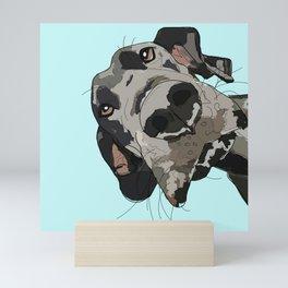 Great Dane in your face (teal) Mini Art Print