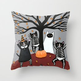 Cats Celebration of Halloween Throw Pillow