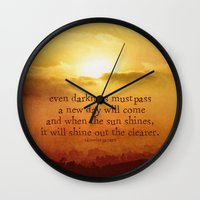the lord of the rings Wall Clocks featuring LORD OF THE RINGS  by Brittney Weidemann