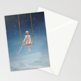 The lovely girl shakes on a swing Stationery Cards
