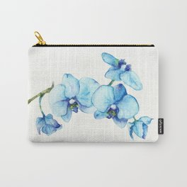 Blue Orchids - Watercolor Botanical Art Carry-All Pouch