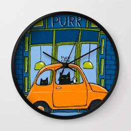 The Purr Cafe Wall Clock