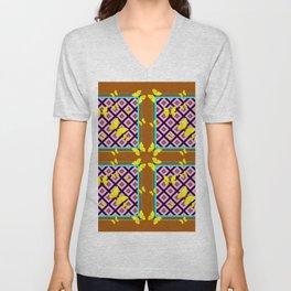 Western Style Purple Patterns & Yellow Butterflies Coffee Brown Unisex V-Neck