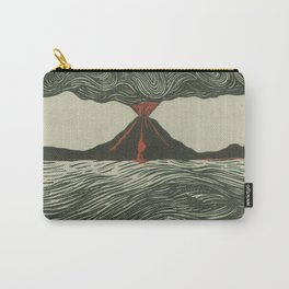 Volcano Woodcut Carry-All Pouch