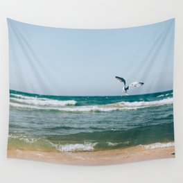 Gull Flight Over Lake Michigan Wall Tapestry