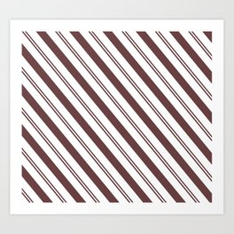 Pantone Red Pear and White Stripes Angled Lines Art Print