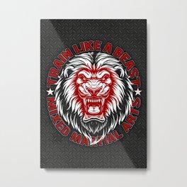 Train Like a Beast - Mma Lion Gym Metal Print