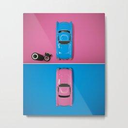 Cars Story - Pink on Blue & Reverse Metal Print