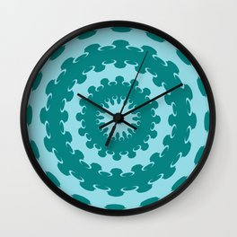 Tanager Turquoise and Teal Blue Crescent Moon Kaleidoscope Wall Clock