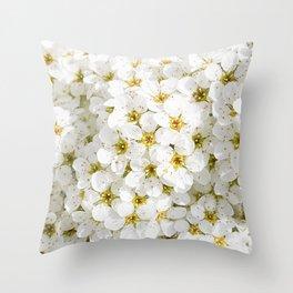 Spirea pretty white flowers Throw Pillow