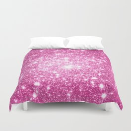 Galaxy Sparkle Stars Orchid Pink Duvet Cover