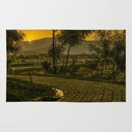 Tropical Landscape Sunset Scene Rug