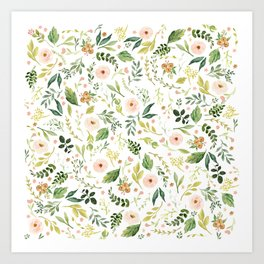 Botanical Spring Flowers Art Print
