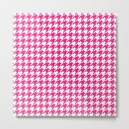 Rose Red Houndstooth Pattern Metal Print