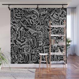 Black and White Street Art Tribal Graffiti Wall Mural