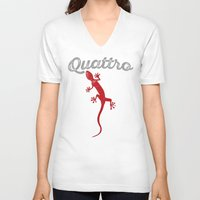 audi V-neck T-shirts featuring Quattro by Pisthead