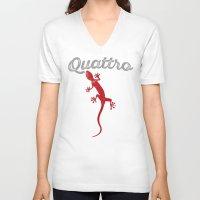 audi V-neck T-shirts featuring Quattro by Cowyark Rubbark