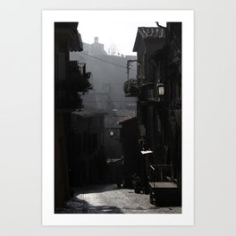 Fog Engulfs a Quiet Village Art Print