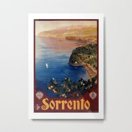 Italy Sorrento Bay of Naples vintage Italian travel Metal Print