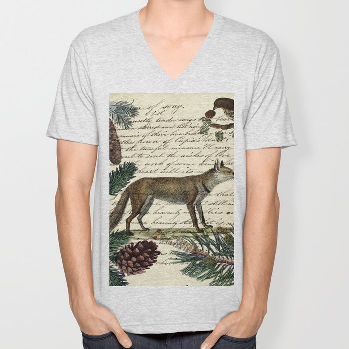 western country fairy rustic woodland nursery winter pine forest animal fox Unisex V-Neck