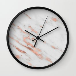 Lenola - minimalist rose gold gleam marble Wall Clock